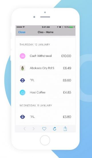 cleo-expense-tracking-and-budgeting-app-screen-example