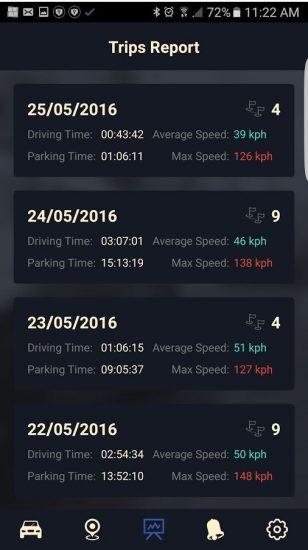 cobra-code-iot-automotive-app-trips-report-screen